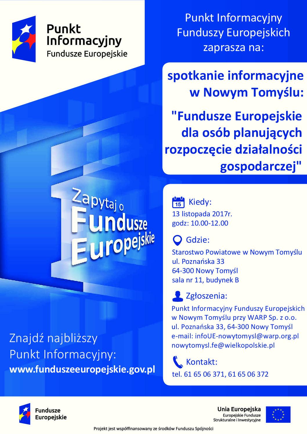 Fundusze Europejskie dla osób planujących rozpoczęcie działalności gospodarczej