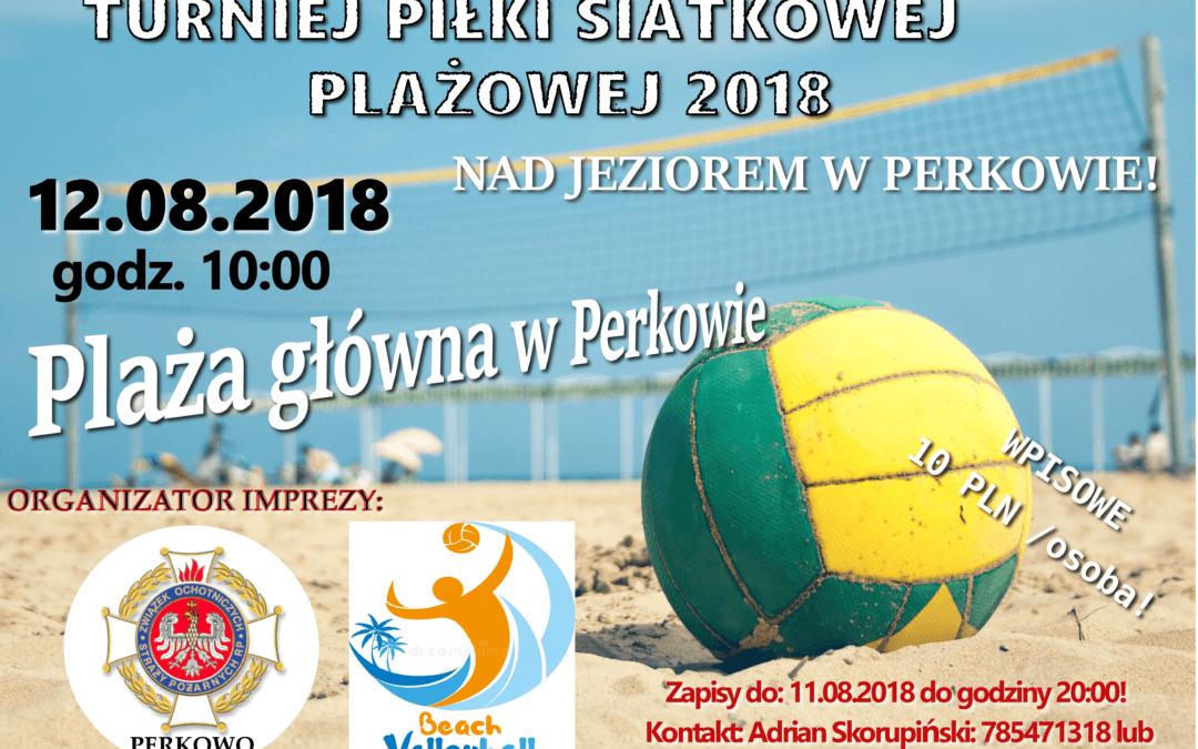 Turniej Piłki Siatkowej Plażowej nad jeziorem w Perkowie – 12.08.2018 r.