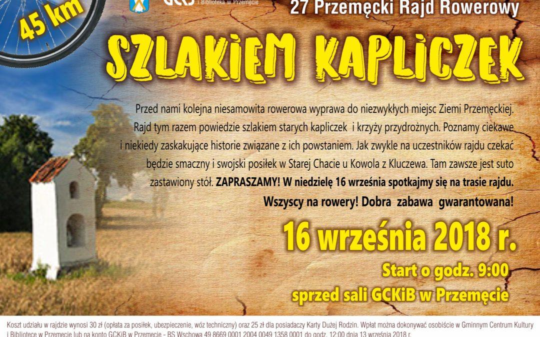 """Zapraszamy na rajd rowerowy """"Szlakiem Kapliczek"""""""